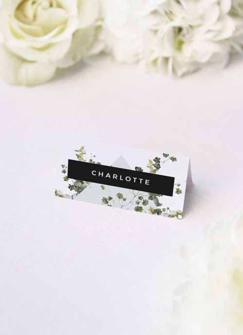 Natural Chic Green Modern Botanical Wedding Name Place Cards Natural Chic Green Modern Botanical Wedding Invitations