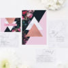 Marble Rose Gold Floral Wedding Invitations hydrangea petals dark black moody geometric