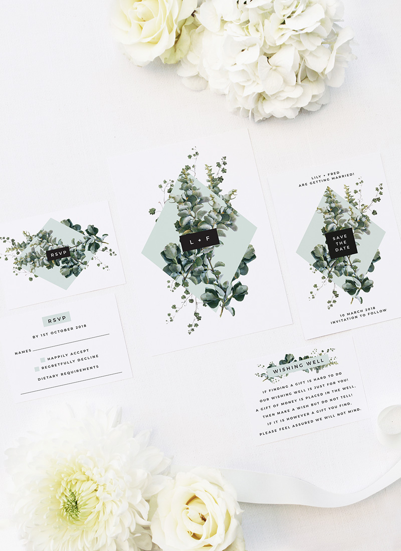 Natural Chic Green Modern Botanical Wedding Invitations