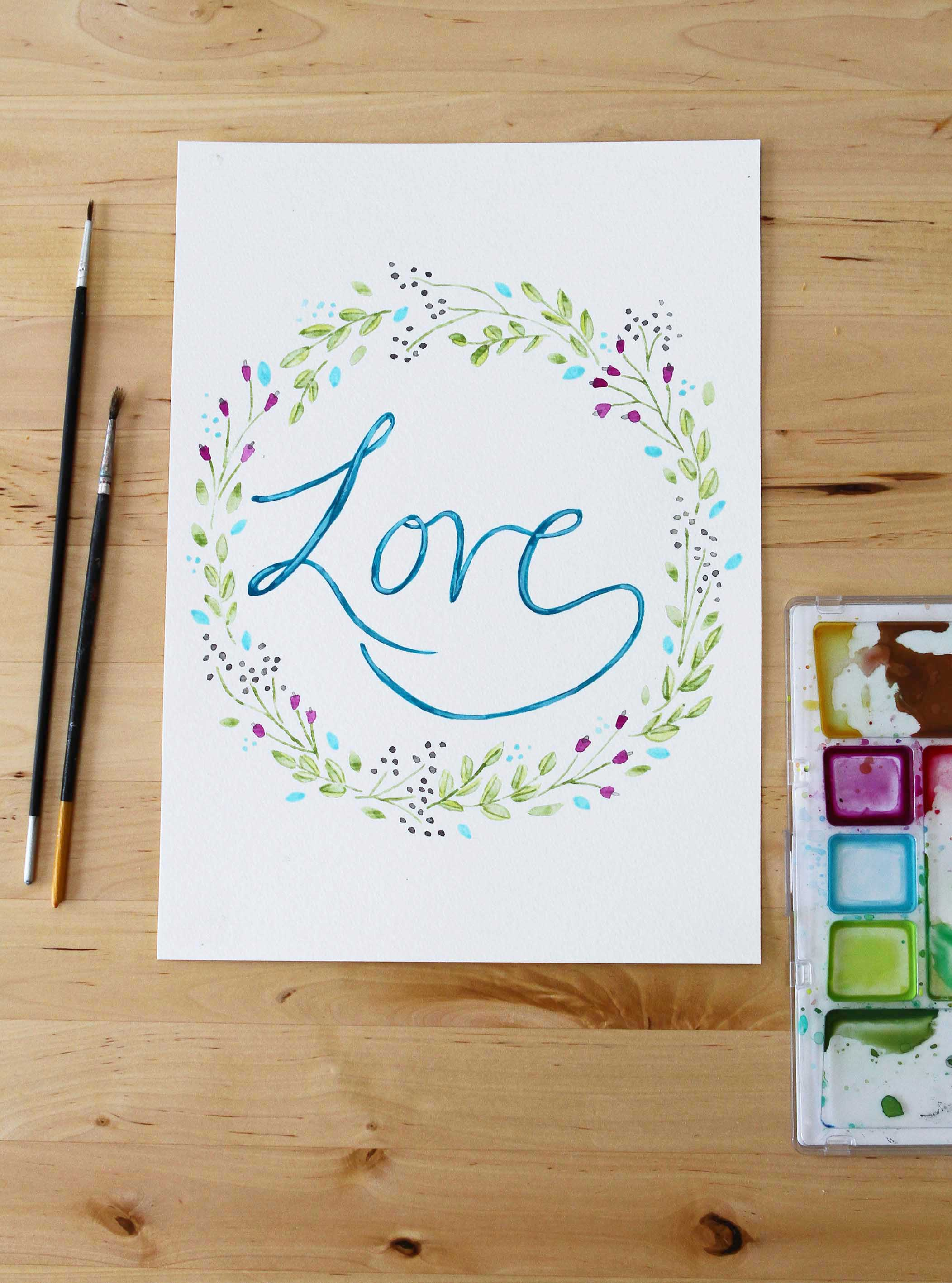 love wedding artwork painting writing typography floral flowers wreath decoration