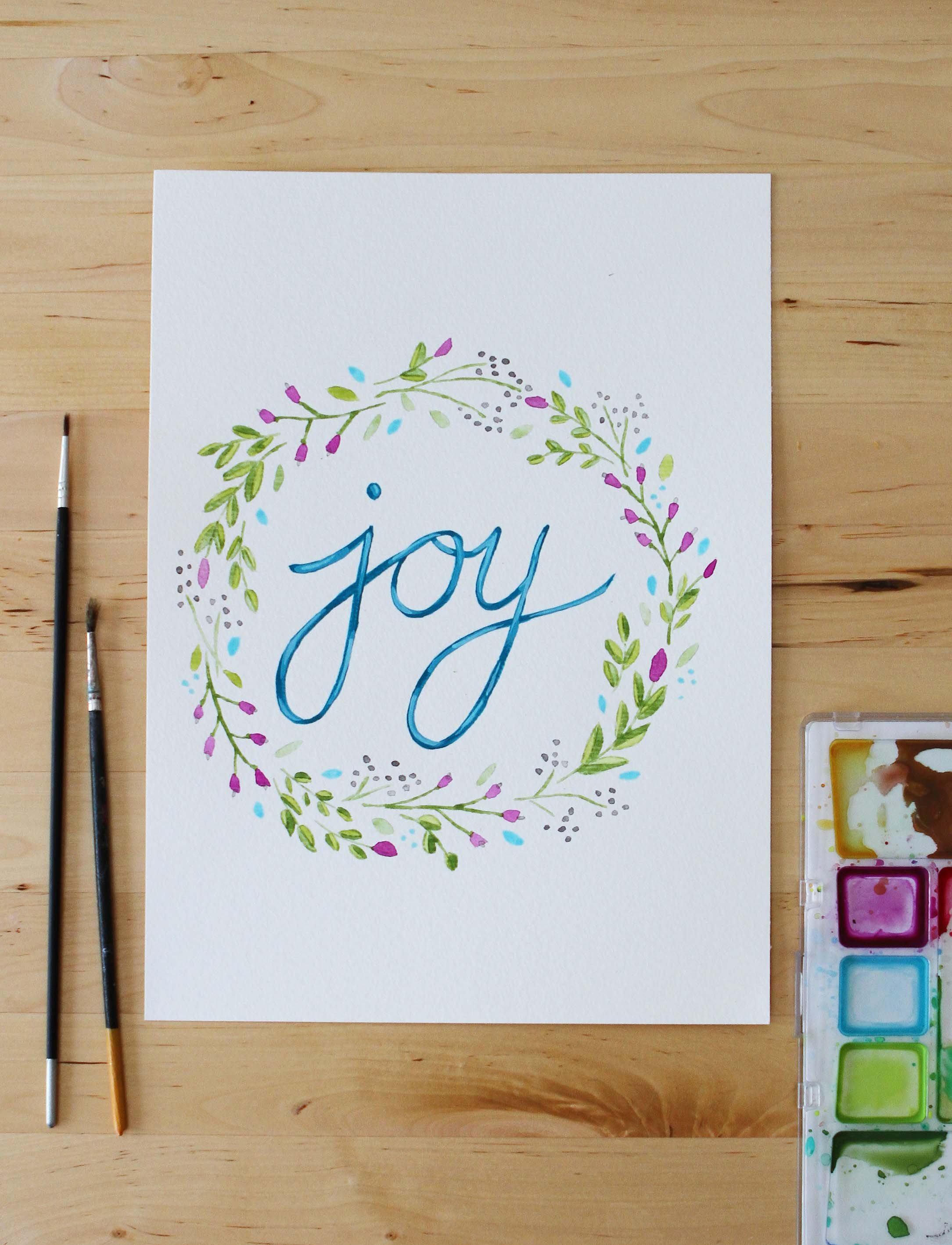 inspirational art gift home decor joy flowers floral wreath writing