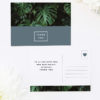 Modern Monstera Tropical Grey Blue Wedding Thank You Postcards Modern Monstera Tropical Leaves Wedding Invitations