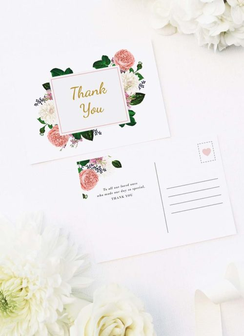 Romantic Blush Roses Elegant Wedding Thank You Postcards Romantic Blush Roses Elegant Wedding Invitations