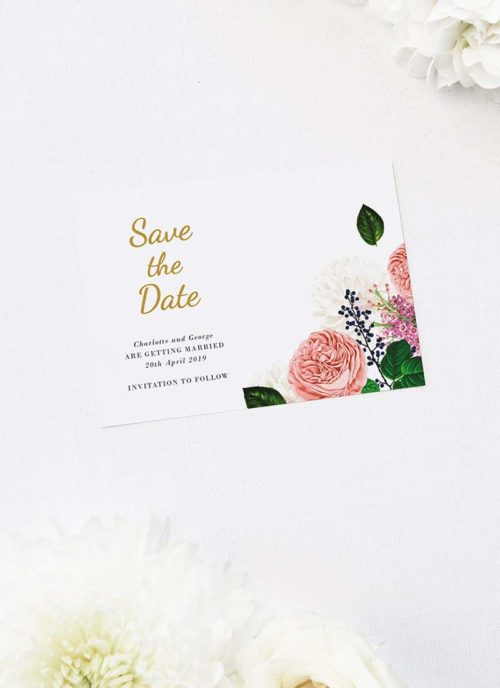 Romantic Blush Roses Elegant Save the Dates Romantic Blush Roses Elegant Wedding Invitations