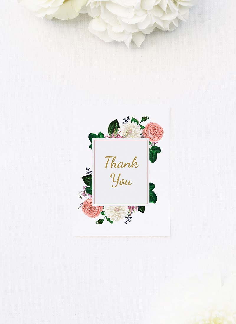 Romantic Blush Roses Elegant Wedding Thank You Cards Romantic Blush Roses Elegant Wedding Invitations