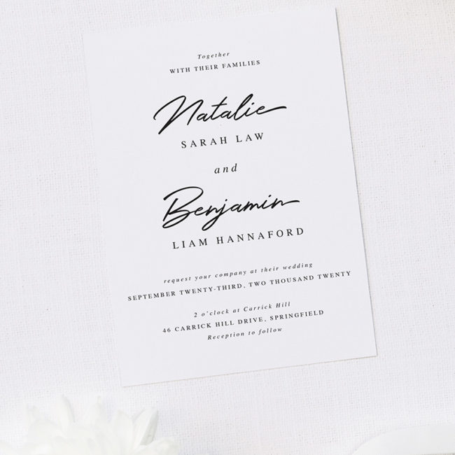 Elegant Hand Script Writing Wedding Invitations
