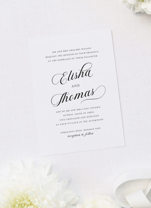Elegant Flowy Cursive Calligraphy Writing Wedding Invitations