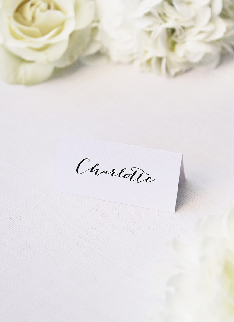 Clean Pretty Calligraphy Script Wedding Name Place Cards Clean Pretty Calligraphy Script Wedding Invitations