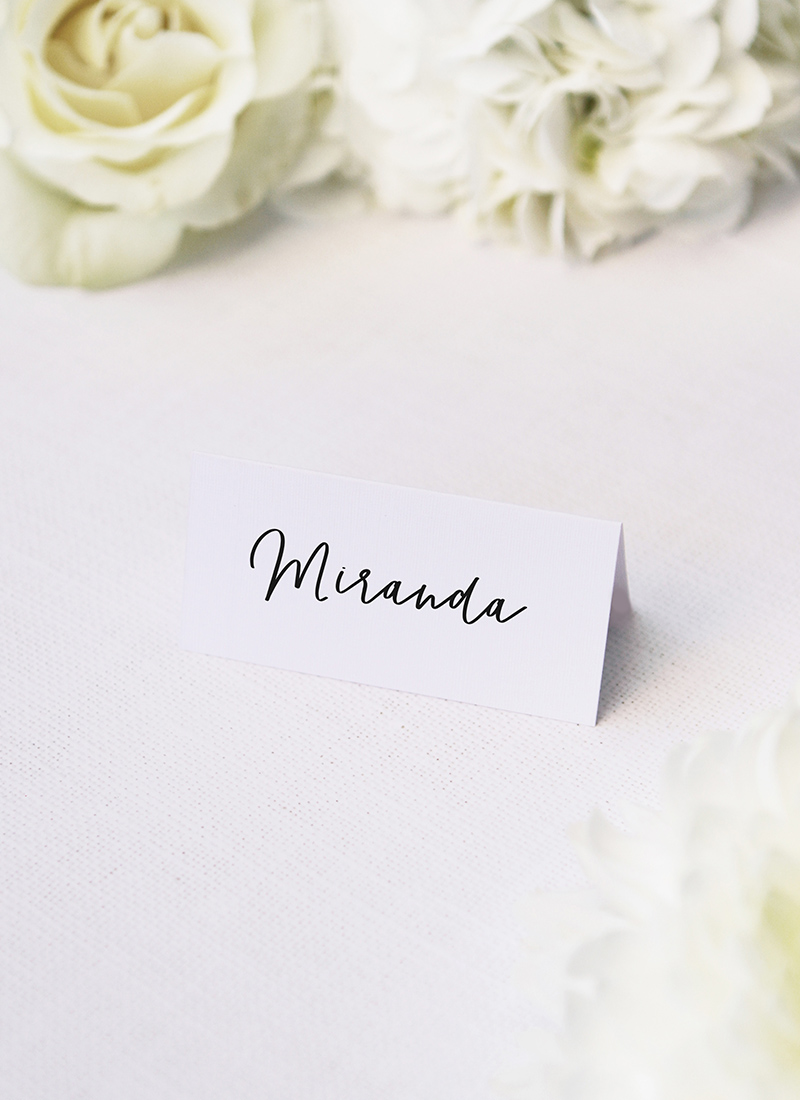 Elegant Cursive Hand Script Name Place Cards Elegant Cursive Hand Script Wedding Invitations