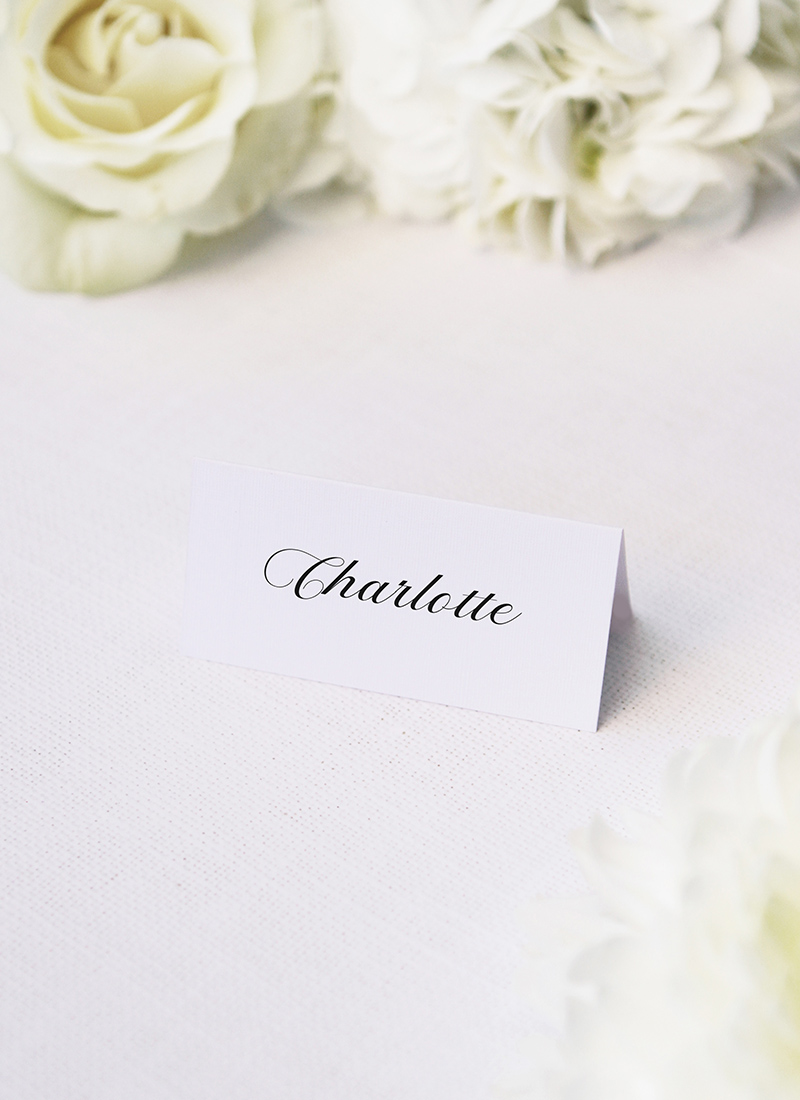 Elegant Cursive Flourish White Wedding Name Place Cards Elegant Cursive Flourish White Wedding Invitations