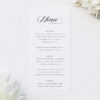 Elegant Cursive Flourish White Wedding Menus Elegant Cursive Flourish White Wedding Invitations