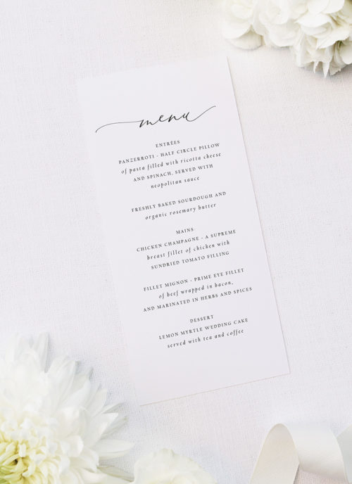 Stunning Elegant Beautiful Calligraphy Wedding Menus Stunning Elegant Beautiful Calligraphy Wedding Invitations