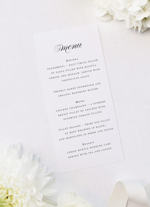 Sophisticated Cursive Calligraphy Script Formal Menus Sophisticated Cursive Calligraphy Script Formal Wedding Invitations
