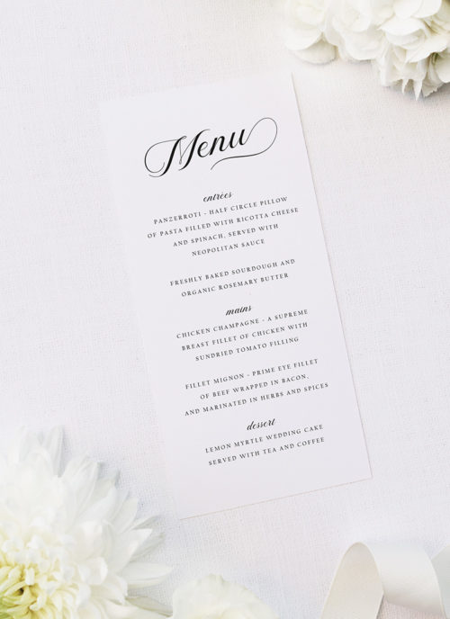 Elegant Flowy Cursive Calligraphy Writing Wedding Menus Elegant Flowy Cursive Calligraphy Writing Wedding Invitations