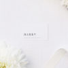 Large Classic Font White Name Place Cards Large Classic Font White Wedding Invitations