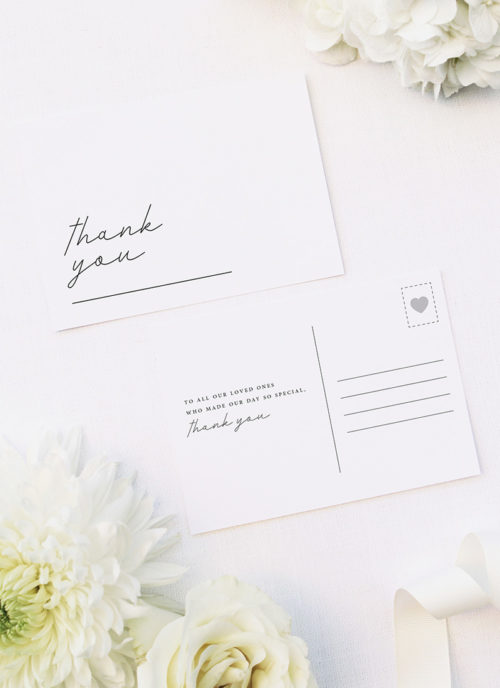 Elegant Hand Writing Cursive Wedding Thank You Postcards Elegant Hand Writing Cursive Wedding Invitations