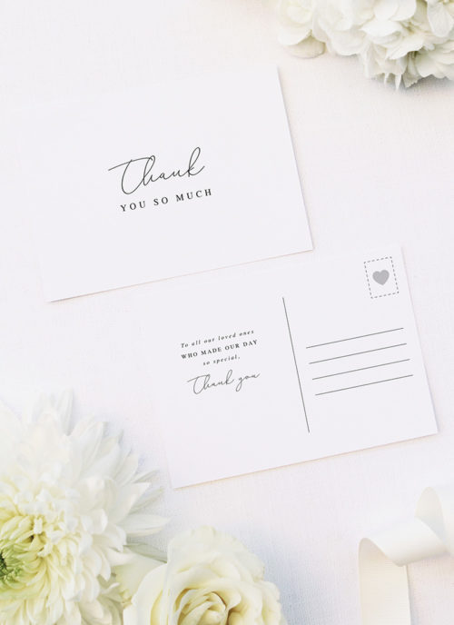Elegant Thin Line Cursive Calligraphy Script Wedding Thank You Postcards Elegant Thin Line Cursive Calligraphy Script Wedding Invitations