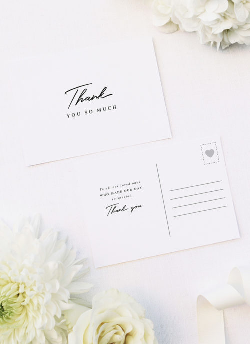 Elegant Hand Script Writing Wedding Thank You Postcards Elegant Hand Script Writing Wedding Invitations