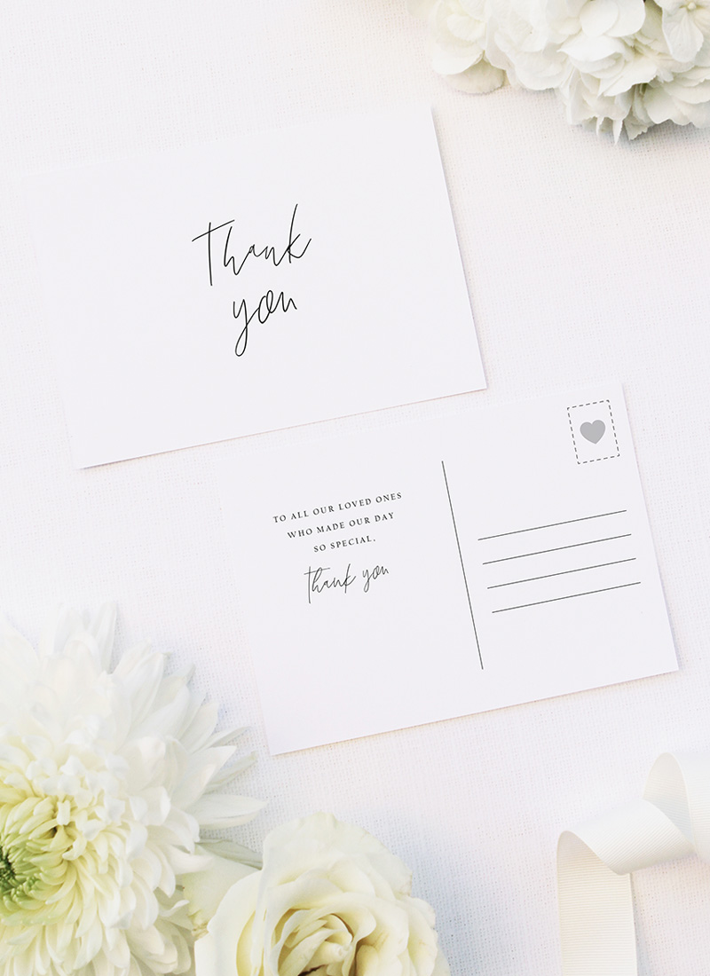 Simple Hand Script Classic Wedding Thank You Postcards Simple Hand Script Classic Wedding Invitations