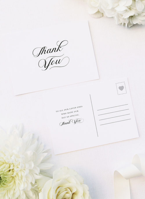 Elegant Cursive Flourish White Wedding Thank You Postcards Elegant Cursive Flourish White Wedding Invitations