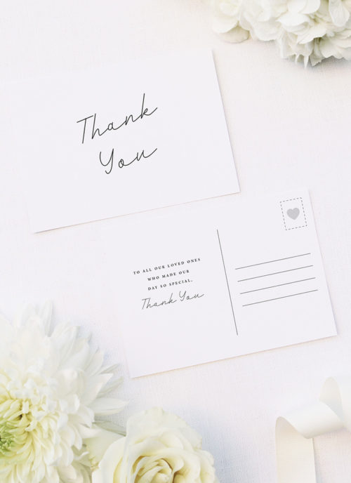 Hand Writing Cursive Script Wedding Thank You Postcards Hand Writing Cursive Script Wedding Invitations