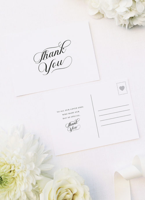 Elegant Flowy Cursive Calligraphy Writing Wedding Thank You Postcards Elegant Flowy Cursive Calligraphy Writing Wedding Invitations