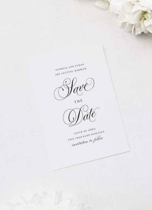 Elegant Vintage Calligraphy Script Save the Dates Elegant Vintage Calligraphy Script Wedding Invitations