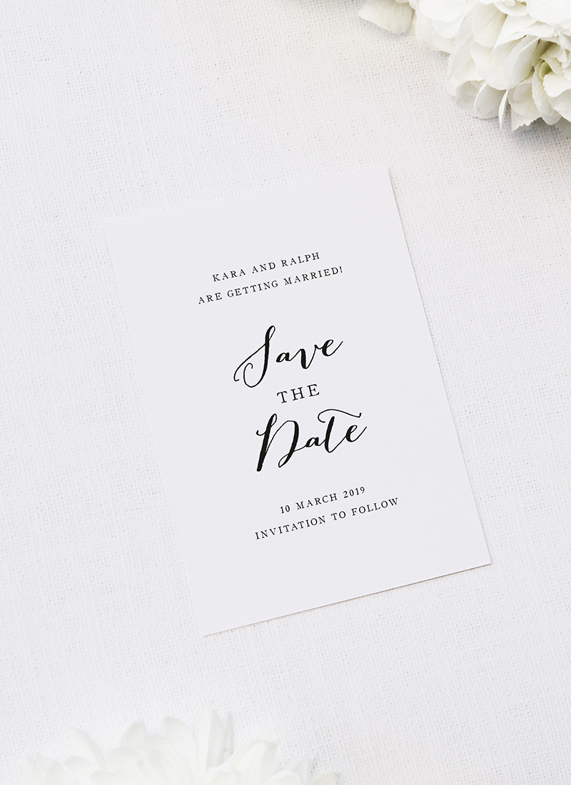 Clean Pretty Calligraphy Script Save the Dates Clean Pretty Calligraphy Script Wedding Invitations