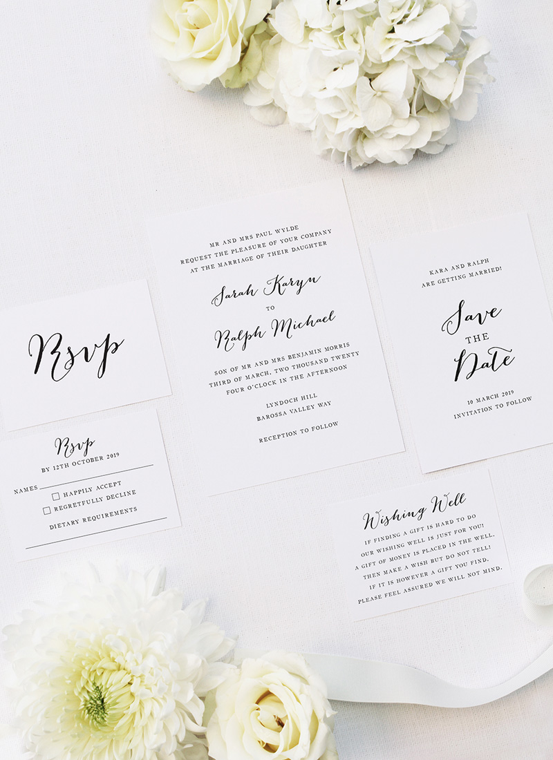 Clean Pretty Calligraphy Script Wedding Invitations