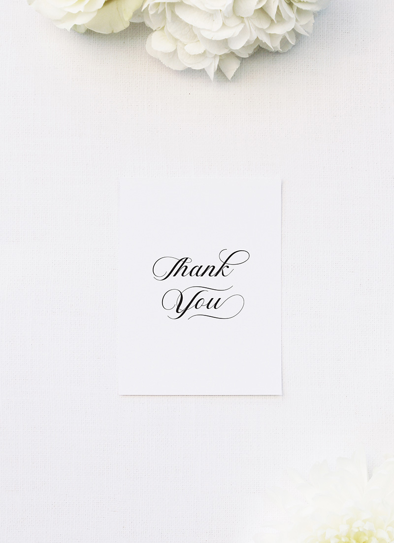 Elegant Cursive Flourish White Wedding Thank You Cards Elegant Cursive Flourish White Wedding Invitations