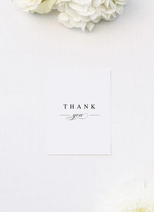 Simple Classic Elegant White Wedding Thank You Cards Simple Classic Elegant White Wedding Invitations