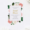 Blush Pink Roses Flowers Bridal Shower Invitations