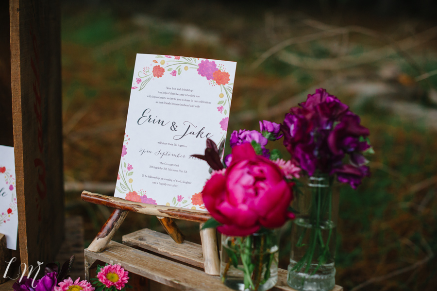 custom wedding stationery pink purple red bright vintage rustic forest winter adelaide sail and swan