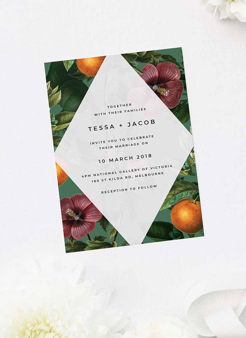 Lush Green Tropical Botanical Wedding Invitations