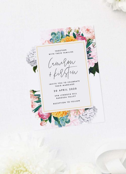 Boho Native Floral Succulent Botanical Bohemian Wedding Invitations