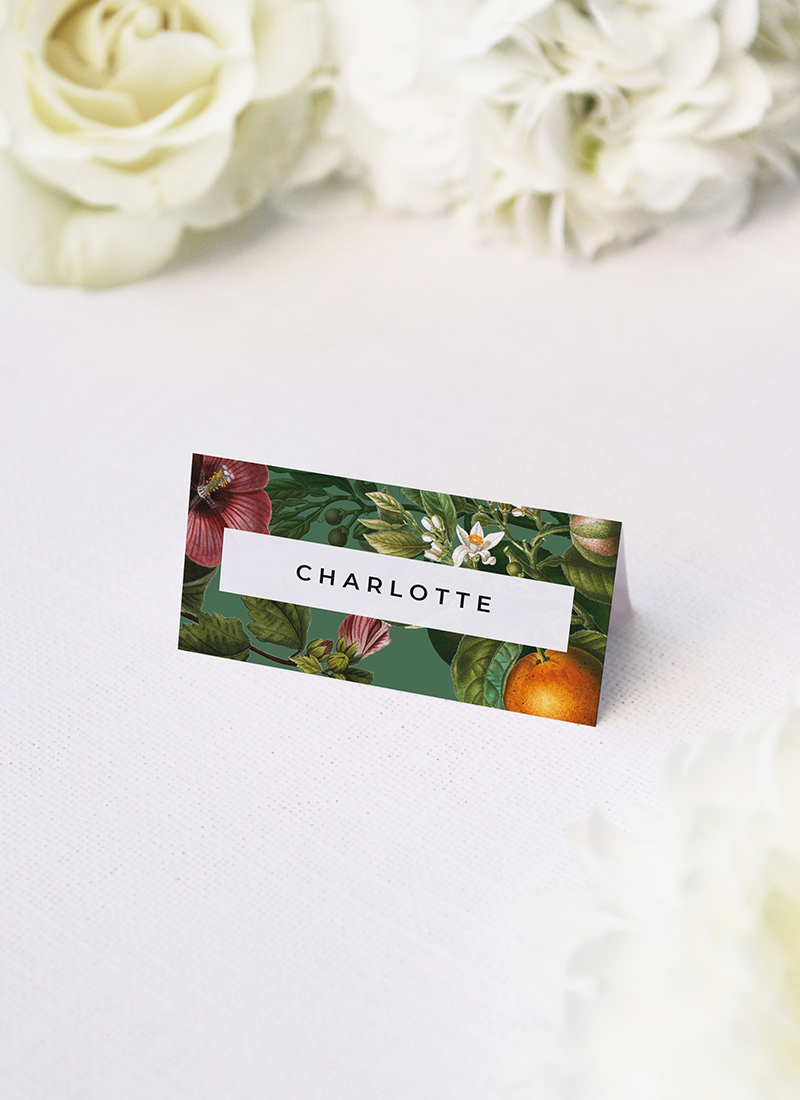 Lush Green Tropical Botanical Wedding Name Place Cards Lush Green Tropical Botanical Wedding Invitations