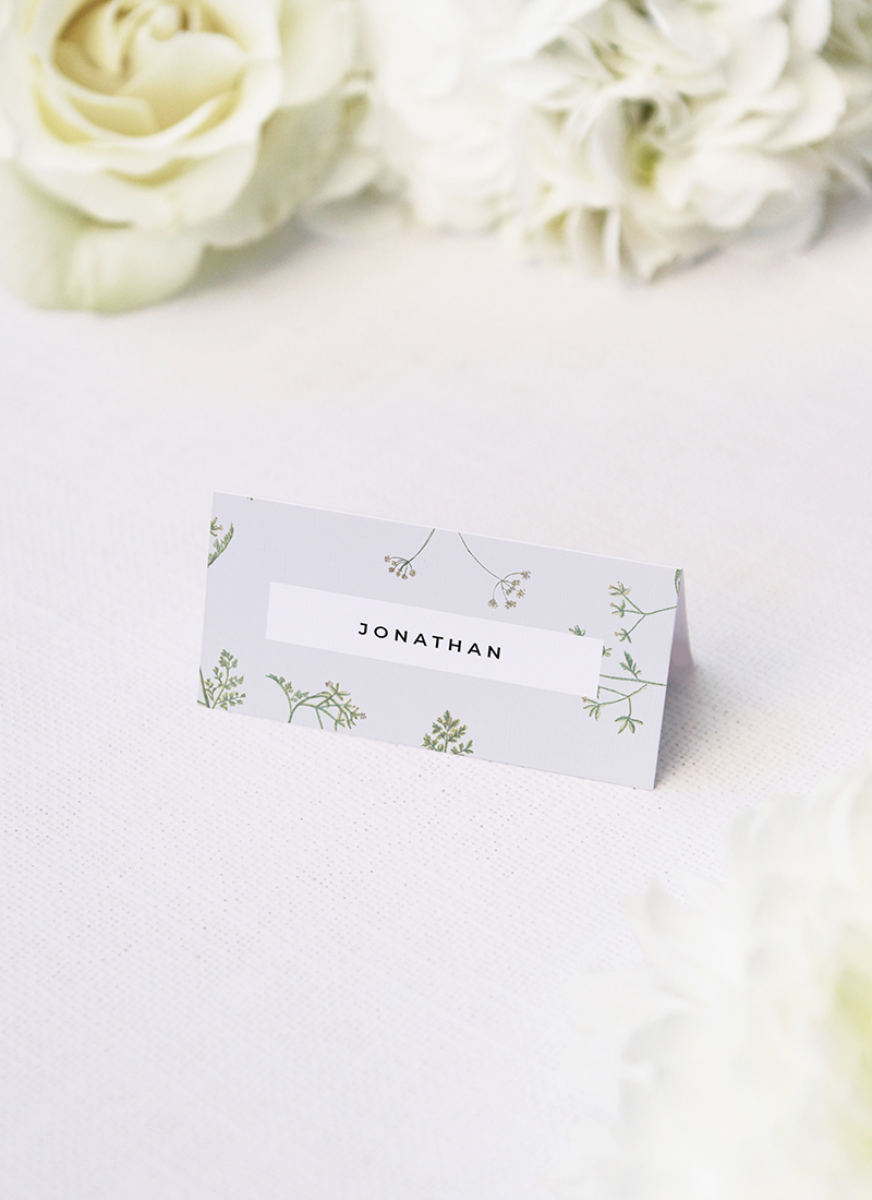 Pale Grey Modern Botanical Wedding Name Place Cards Pale Grey Modern Botanical Wedding Invites