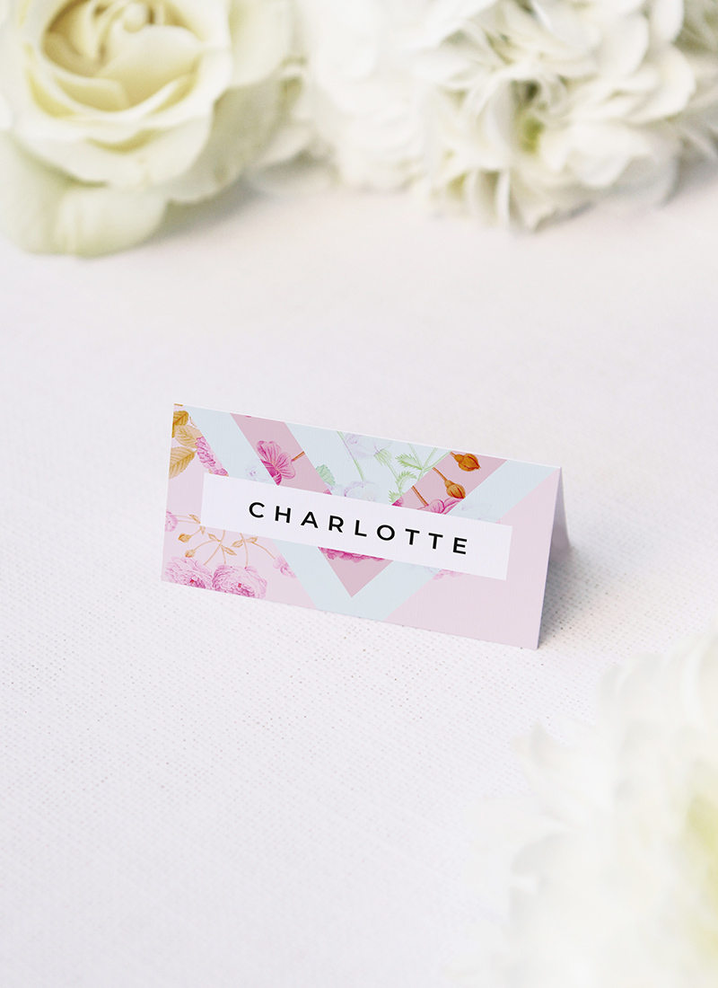 Modern Pastels Pink Blue Green Geometric Wedding Name Place Cards Modern Pastel Pink Blue Green Geometric Wedding Invitations