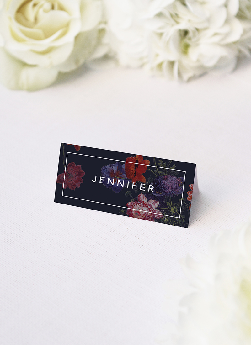 Moody Dark Floral Wedding Name Place Cards Moody Dark Floral Wedding Invitations