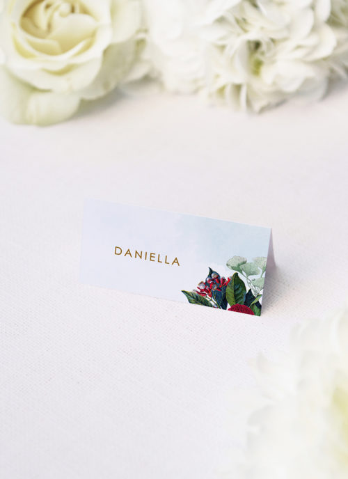 Ruby Red Rose Burgundy Floral Wedding Name Place Cards Ruby Red Rose Burgundy Floral Wedding Invitations