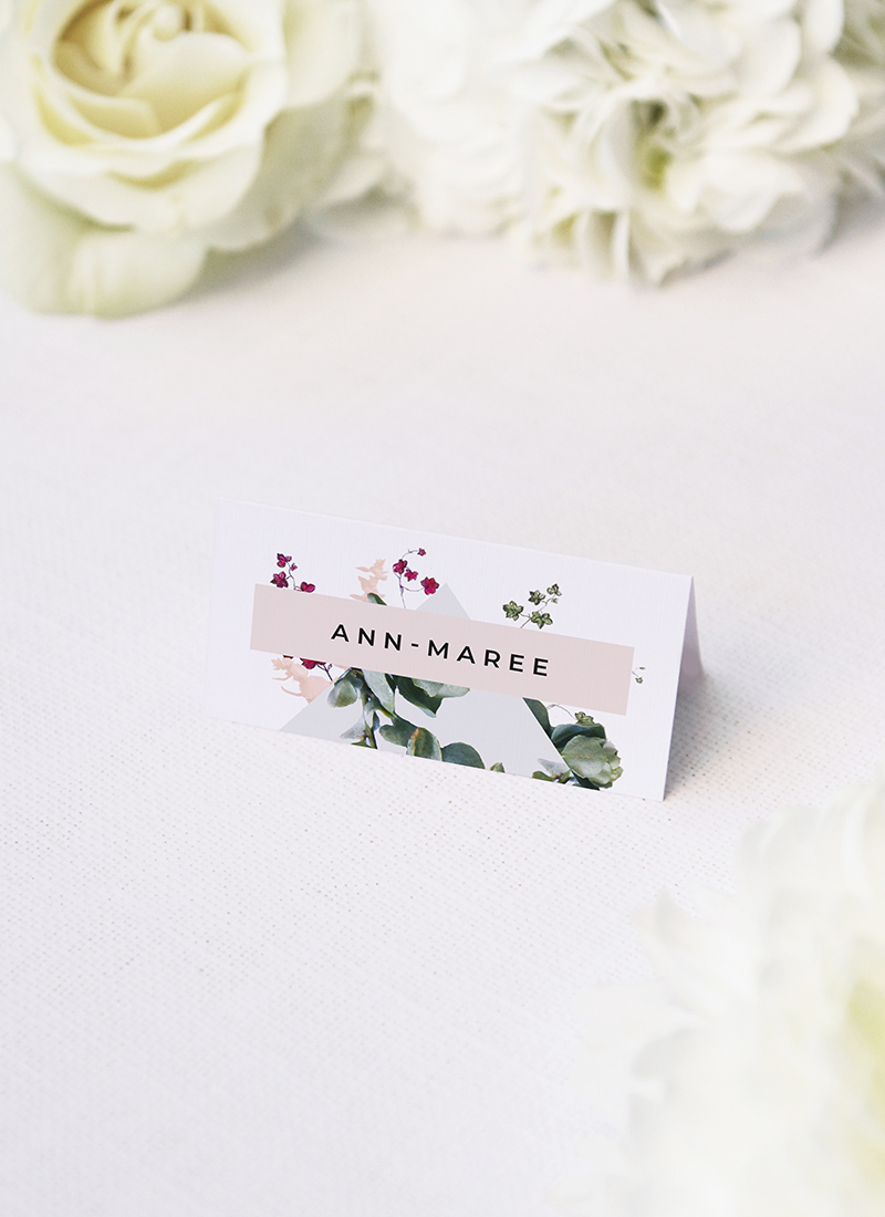 Blush Burgundy Botanical Greenery Wedding Name Place Cards Blush Burgundy Botanical Greenery Wedding Invitations