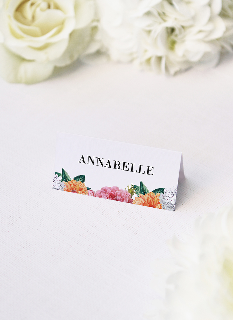 Vintage Botanical Wedding Name Place Cards Pink Peach Orange Botanical Wedding Invitations