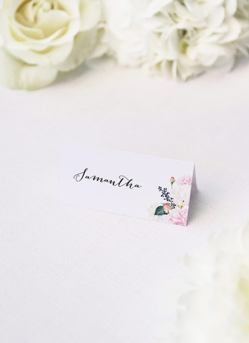 Elegant Dahlia Pastel Floral Wedding Name Place Cards Elegant Dahlia Pastel Floral Wedding Invitations