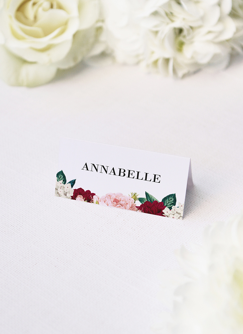 Crimson Red Floral Burgundy Wedding Name Place Cards Floral Burgundy Wedding Invitations