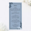 Blue Botanical Floral Wedding Menus Blue Botanical Floral Wedding Invitations