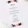 Crimson Red Floral Burgundy Wedding Menus Floral Burgundy Wedding Invitations