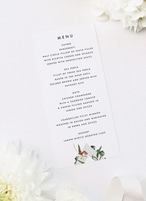 Eucalyptus Leaves Native Botanical Wedding Menus Eucalyptus Leaves Native Botanical Floral Wedding Invitations