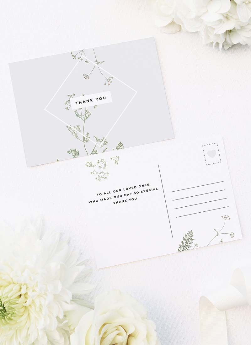 Pale Grey Modern Botanical Wedding Thank You Postcards Pale Grey Modern Botanical Wedding Invites