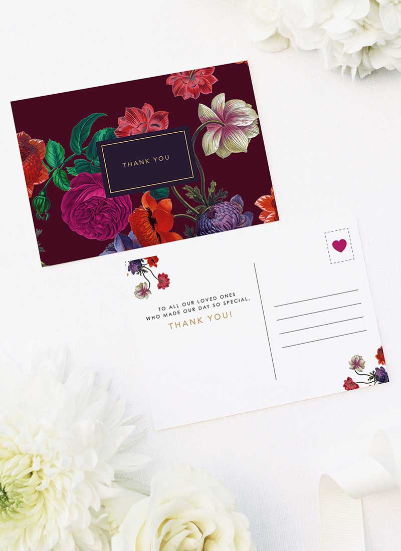 Elegant Burgundy Floral Wedding Thank You Postcards Marsala Love Burgundy Wedding Invitations