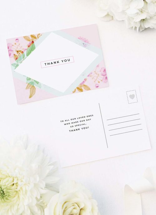 Modern Pastel Pink Wedding Thank You Postcards Modern Pastel Pink Blue Green Geometric Wedding Invitations